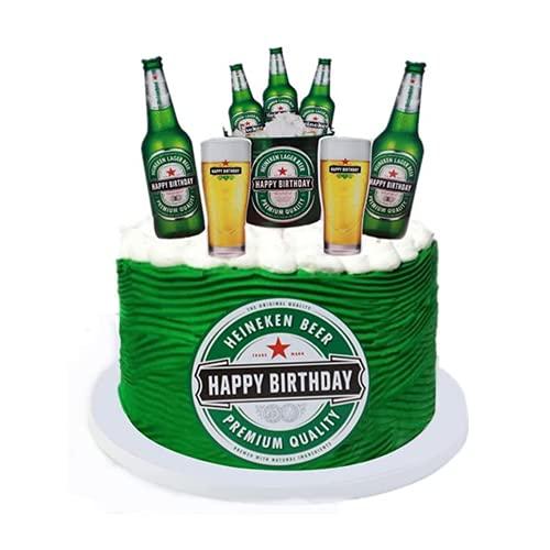 6 piezas de decoración para tartas de cerveza, en miniatura, botellas de vino, Happy Birthday Cake Topper, para DIY hornear pasteles, decoración para niños, baby shower Party Supplies