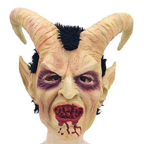 JNKDSGF HorrormaskeScary Maske Dämon Teufel Luzifer Horn Latex Masken Halloween Film Cosplay Dekoration Festival Party Supply Requisiten Erwachsene Horrible-1