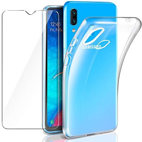 Leathlux Samsung Galaxy A20 Hülle + Panzerglas, Samsung Galaxy A20 Durchsichtig Case Transparent Silikon TPU Schutzhülle Premium 9H Gehärtetes Glas für Samsung Galaxy A20