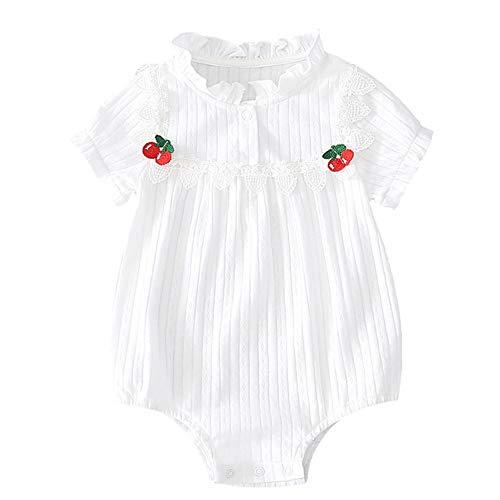 Aabbcdf Mameluco recién Nacido, Mono de Flores de Encaje Blanco para bebés, Mono de Manga Corta de algodón 0-24 Meses