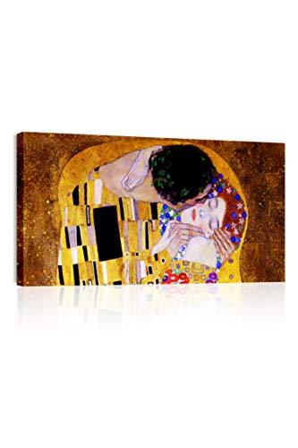Quadri L&C ITALIA Klimt Il Bacio Quadro Moderno Soggiorno e Capezzale Camera da Letto 90 x 45 Stampa su Tela Canvas da Appendere a Parete