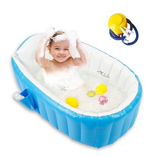 Baby Inflatable Bathtub, Portable Bathtub Infant Toddler Non Slip Bathing Tub Travel Bathtub Mini Air Swimming Pool Kids Thick Foldable Shower Basin Bath seat (Blue)