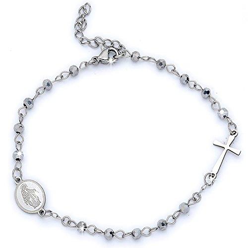Beloved ❤ Pulsera mujer y unisex rosario-Con y sin cristales, de acero inoxidable-Varios colores-Tamaño ajustable-Cruz y Virgencita Cristalli Natural