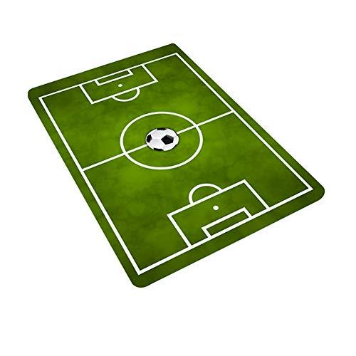 GCDN Tappeto decorativo per la casa del campo di calcio rettangolare stampa morbida antiscivolo tappetino bagno di flanella bambino gioco soggiorno om camera da letto (50 x 80 cm)