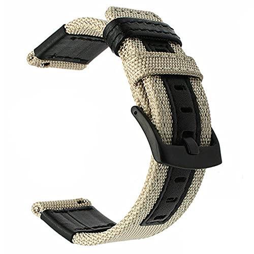 Correas De Reloj De Nylon Reloj de Reloj de Reloj de 20 mm 22mm 46mm 42mm de Cuero de Nylon Correa de Reloj Correa Reloj (Band Color : Khaki)