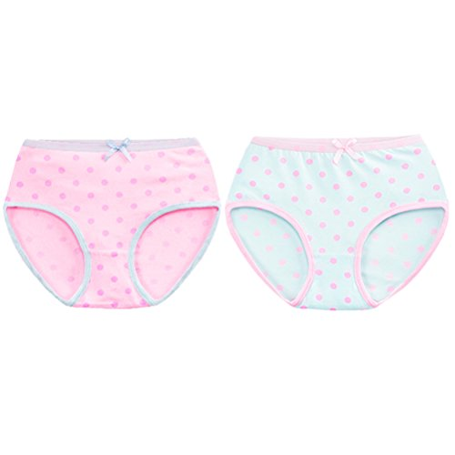 Zhhlinyuan Fashion 2pcs Girls Children Underpants Short Cute Small Dot Prints Cotton Underwear 3578#