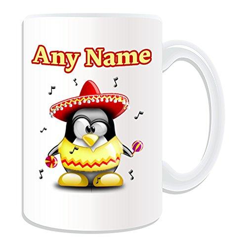 UNIGIFT Gepersonaliseerd geschenk - grote Mariachi mok (Penguin in kostuum ontwerp wit) Naam bericht Unieke Silly Grappige Nieuwigheid Wereld Mexico Mexicaanse Muziek Muziek Band Hoed Sombrero