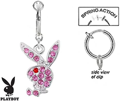 playful piercings Fake Belly Navel Non Clip on Officially Licensed Pink Playboy Bunny Rabbit Dangle Ring