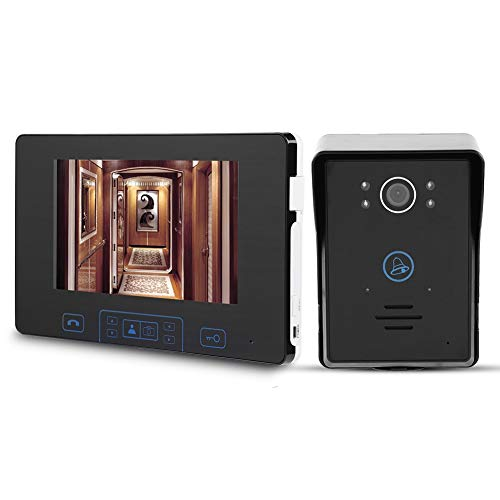 ASHATA Timbre de Video, Sistema de Intercomunicación de Vídeo,Timbre con 2.4GHz 7 Pulgadas Pantalla a Color,Intercomunicador Digital Doorphone,Cámara inalámbrica Videoportero,con Visión Nocturna