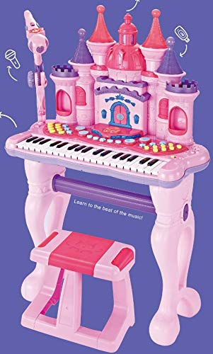 Best Review Of Electronic Musical Princess Castle Piano Organ With Chair And Microphone By SkyMall