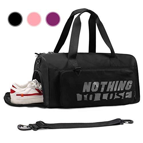 ZFLY-JJ Deportes señoras Bolsa - Bolsa de Viaje con Compartimento para Zapatos Bolsa Compartimento húmedo para Gimnasia Viajes,Negro