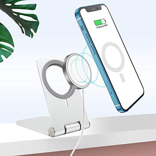 magsafe充電器 スタンド 折り畳み式 対応 iPhone12/12 mini/12 Pro/12 Pro Max 携帯 スタンド 卓上 滑り止め シリコーン ホルダー 360°角度調整可能 アルミ合金素材 安定 MagSafeに最適