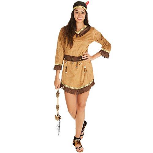 TecTake dressforfun Frauenkostüm Indianerin Apachin | Kleid + Gürtel & Haarband mit Federn | Indianer Cowboy Verkleidung (S | Nr. 300626)