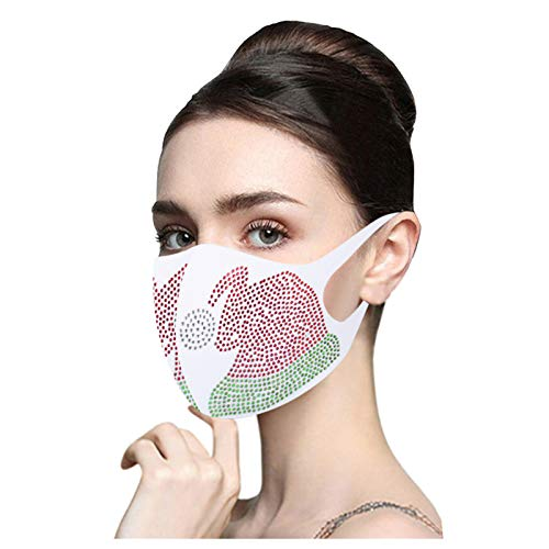 Sugely Christmas Snowflake Crystals Face_Mask_Covering with Rhinestones Washable Reusable Breathable Bandana Fashion Protective Wear Kids, Adults, Children