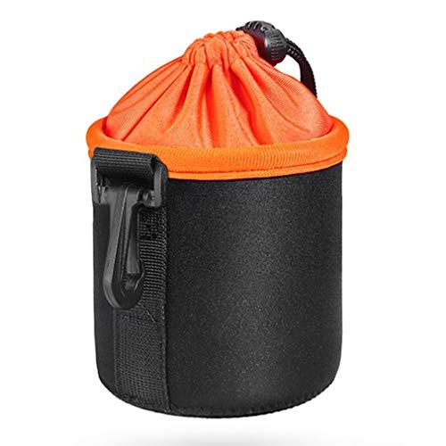 Binghotfire Bolsa de Neopreno Impermeable Lente de cámara DSLR Bolsa Protectora Estuche Blando Bolsa Negro y Naranja S