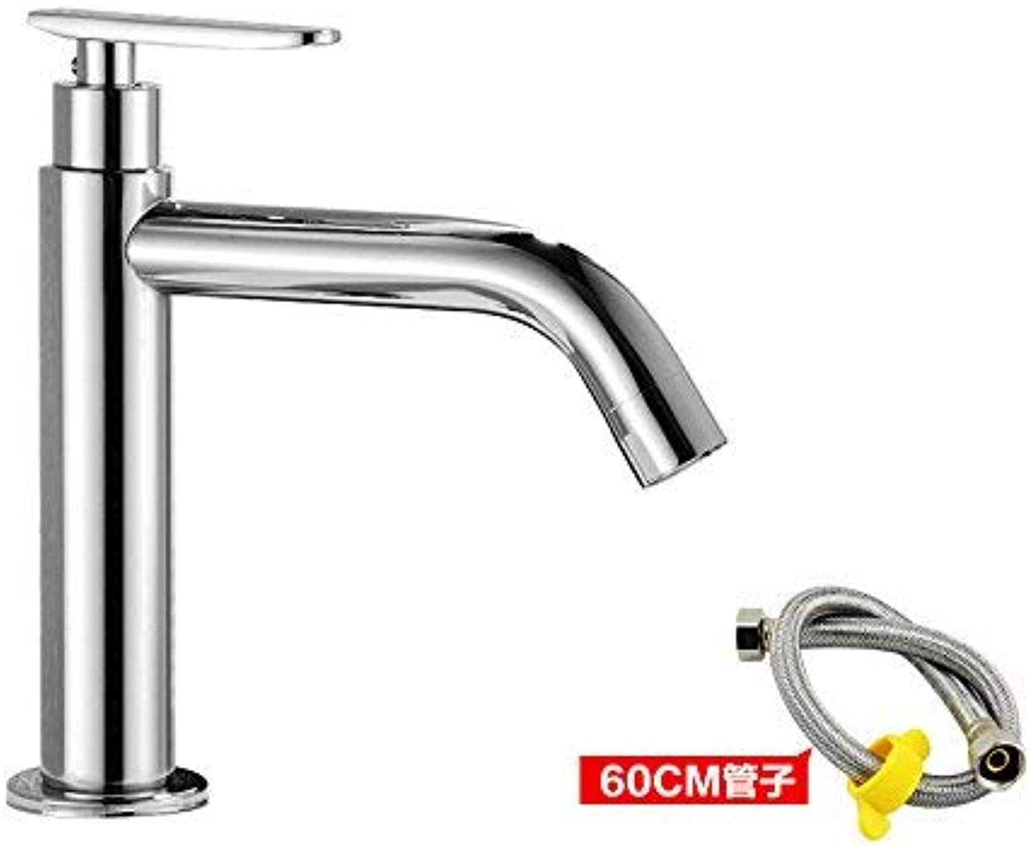 Oudan 0K single cold water basin water taps the cold water taps toilets with high surface basin mixer art lowered basin stainless steel basin +80cm,A3- lowered the tap water inlet pipe (color   2)