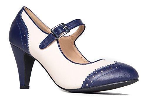 J. Adams Kym Mary Jane Oxford Heels - Round Toe Rockabilly Pumps Shoes Women Navy Cream