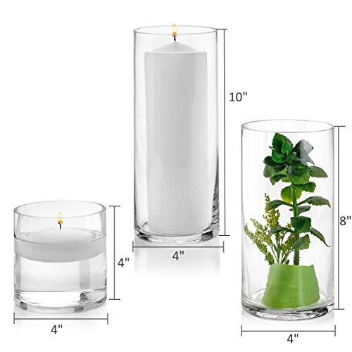 Juego de 3 jarrones cilíndricos de vidrio de 4, 8, 10 pulgadas de alto – Multiusos: velas de pilar, portavelas flotantes o florero – perfecto como centro de mesa de boda.