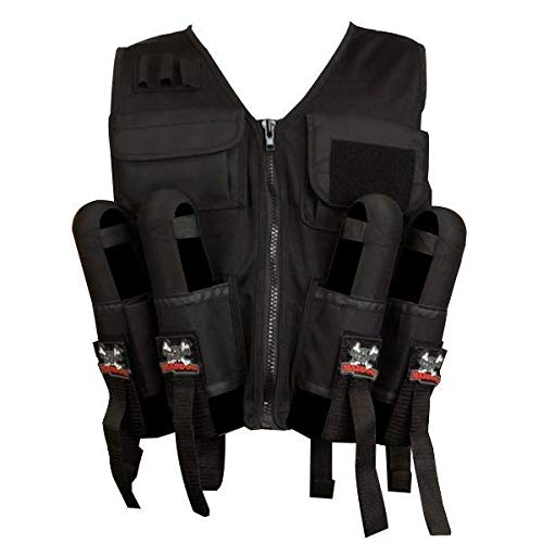Maddog Lightweight Tactical Paintball Vest with Tank and Pod Holder Attachments - Black
