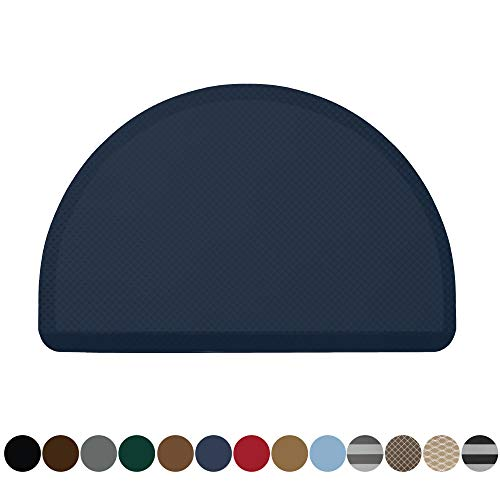 Kangaroo Original Commercial Grade Standing Mat Half Circle Kitchen Rug, Anti Fatigue Comfort Flooring, Phthalate Free, Non-Toxic, Rugs for Office Stand Up Desk, Half Round, Navy Blue