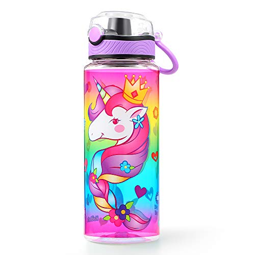 Cute Water Bottle for School Kids Girls, BPA FREE Tritan & Leak Proof & Easy Clean & Carry Handle, 23oz/ 680ml - Unicorn