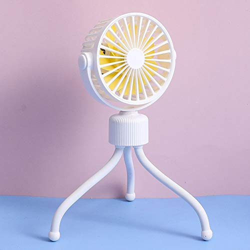 Trusway Portable Battery Operated Stroller Fan Flexible Tripod Clip On Fan with Quiet USB Personal Handheld Desk Fan for Pushchairs Home Office Outdoors Yellow