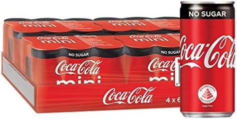 Coca-Cola No Sugar Mini Cans, 180ml, (Pack of 24)
