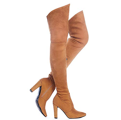 Shoe'N Tale Women Stretch Suede Chunky Heel Thigh High Over The Knee Boots (7,Brown)