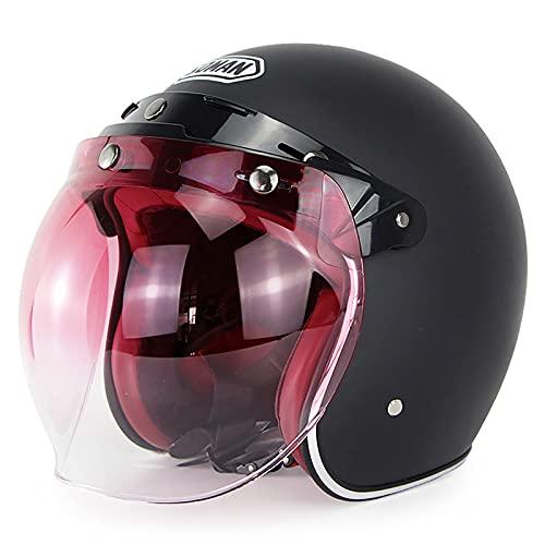 Retro Motorcycle Open Face Helmet,DOT Motorbike 3/4 Half Helmet,Open Face Motorbike Safety Crash Helmet,Vintage Style Motorcycle Half Helmet with Sun Visor B,L=59~60cm