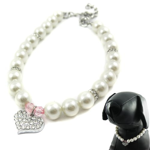 Alfie Pet - Pinky Crystal Heart Pearl Necklace - Size: M (10'- 12') for Dogs and Cats