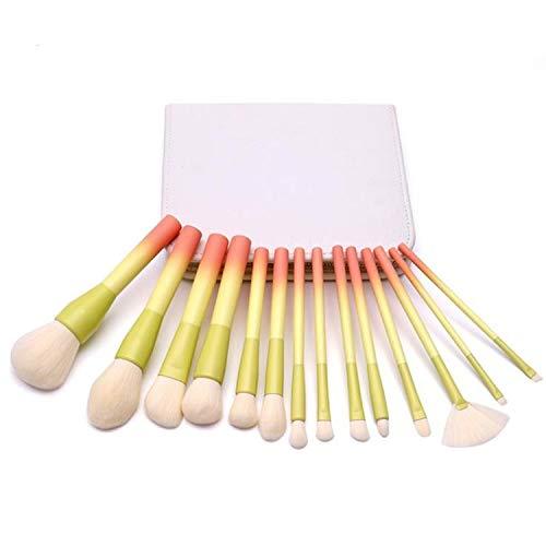LYX 14 pinceaux de maquillage avec poignée en bois, Pinceau avec imitation laine poudre bleu dégradé, Outils Sac blanc PU Beauté (Size : 14 yellow red+brush packs)