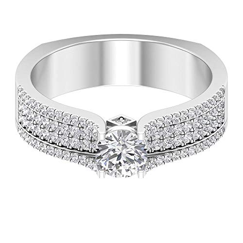 Breiter Diamant Ehering, Solitär Verlobungsring, 1 Karat Diamant Sidestone Ring, Vintage Brautring, Partywear Statement Ring, Cocktailring, 14K Weißes Gold, Size:EU 70