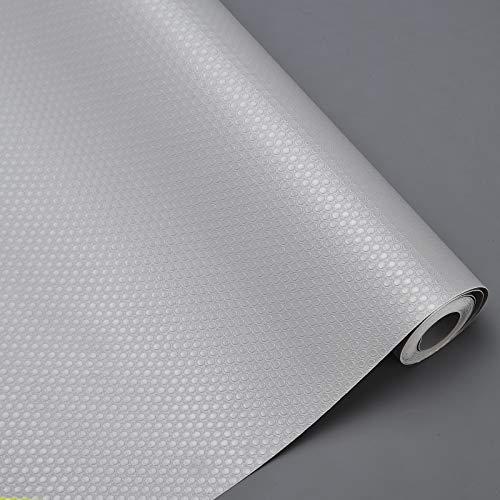 HLAA Almohadilla impermeable reutilizable para gabinete, almohadilla para cajón de refrigerador, resistente a la humedad y al polvo, antideslizante (gris, 3 rollos)