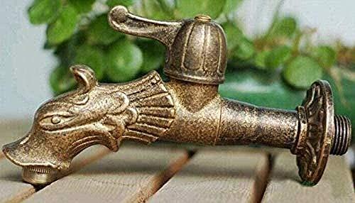 pyongjie Grifo de Cuenca Grifo Dragón Forma de Animal Bibcock de jardín Estilo Rural Dragón de Bronce Antiguo Grifo con E Grifo Exterior para jardín