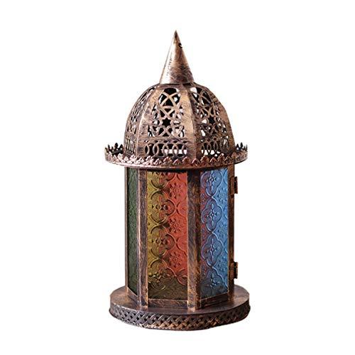 C/H Linterna de Vela para Boda marroquí Retro portavelas de Metal Hueco Colgantes de Vela para el hogar Patio balcón Bar jardín Bar Regalo de cumpleaños