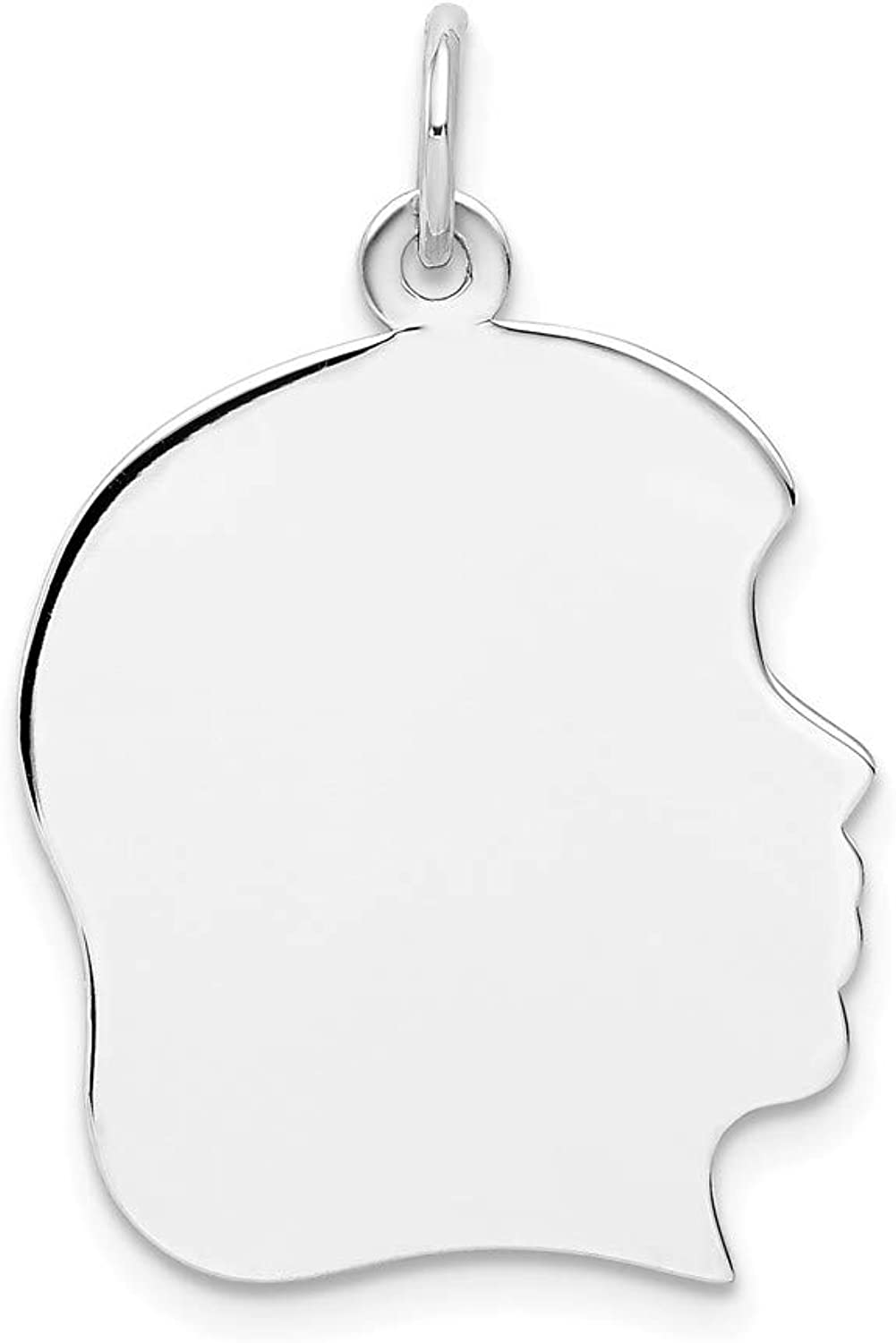 Beautiful White gold 14K 14k White gold Plain Large Facing Right Engravable Girl Charm