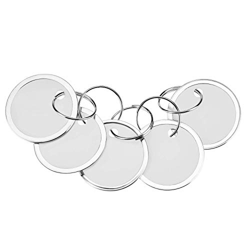 Fanrel 60 Pieces Metal Rimmed Key Tags Round Paper Tags with Split Rings 31mm White