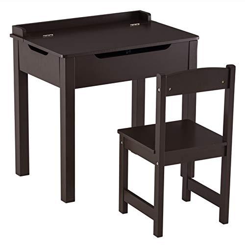 PHH [59 x 40.5 x 59] CM Mesa de Estudio de niños MDF y sillas 2 Se Puede Abrir Conjuntos de cajones, 1 Mesa y 1 Silla marrón