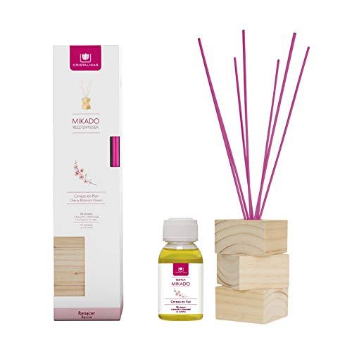 CRISTALINAS. Ambientador Natural Wood. Kit Completo (Varillas, Base de Madera y Esencia). Difusor de Varillas. Mas de 12 semanas. 100ml. Aroma (Cerezo en Flor) (Unidad)