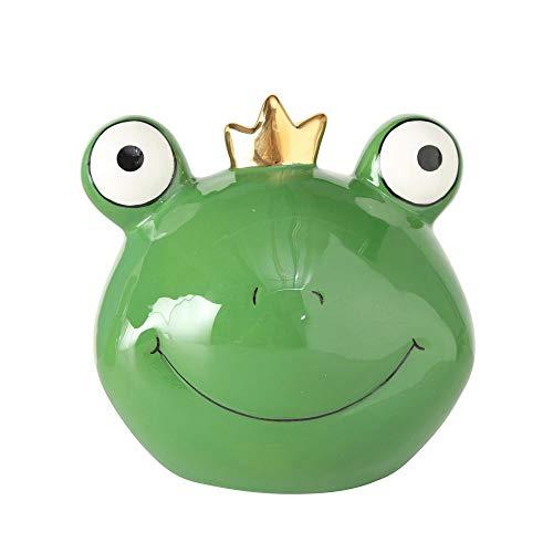 CasaJame Keramik Spardose Frosch mit Goldener Krone dunkelgrün Froschkönig 13x11x13cm