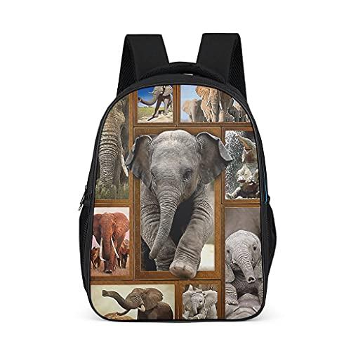 Linda mochila escolar de elefante para adolescentes y niños, ligera para mujeres, bolsas de libros, mochila para niños, mochila para viajes escolares, Gris brillante., Talla única,