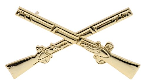 Sujak Military Items Crossed Muskets Gold Plated 1 3/4 inch hat Lapel pin HON16058