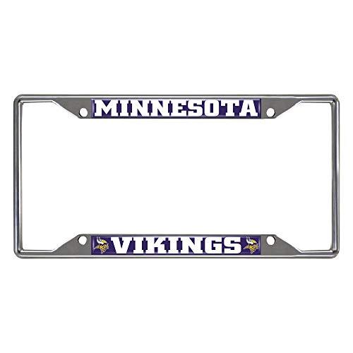 FANMATS 15529 NFL Minnesota Vikings Chrome License Plate Frame, Chrome, 6.25' x 12.25', Purple