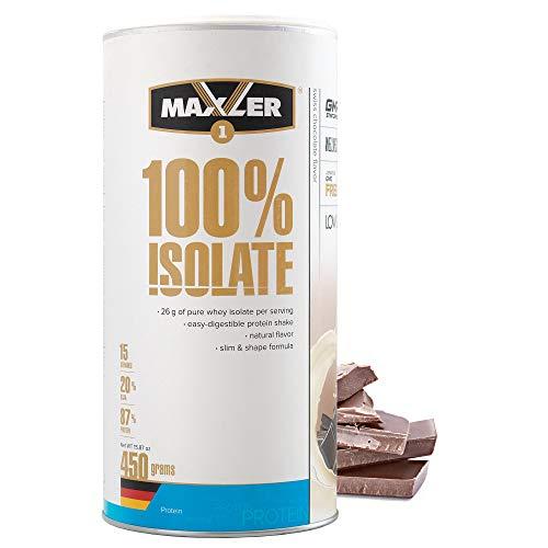 Maxler 100 % Isolate Proteinpulver – naturligt smakande parfymisolat från betehållning – Vaxprotein Isolate sockerarm & ärligt läckage – schweizisk choklad – 450 g