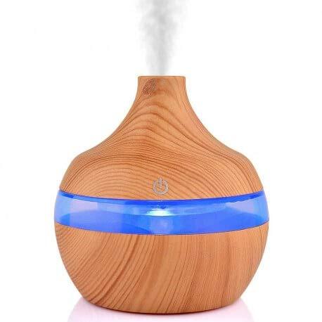 Diffuseur d'huiles Essentielles 300ml look bois USB avec changement de couleurs