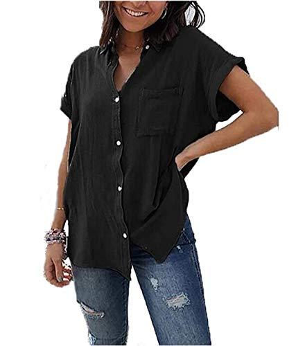 Yutila Damen Sommer Kurzarm Blusen Button Down hemdbluse Casual Shirt, Schwarz, L(EU 40)