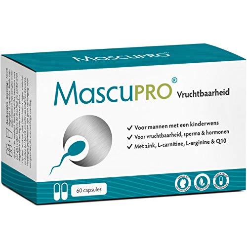 MascuPRO® Vruchtbaarheid voor Man met een kinderwens - Fertility + 60 Capsules + Veganistisch + L-Carnitine Carnipure®, L- Arginine, Zink