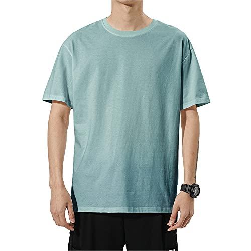 T-Shirt Uomo Estate Classica Moda Girocollo Uomo Manica Corta Moderno Urbano Tinta Unita Sciolto Uomo Casual Camicie Luce Comodo Uomo Shirt G-Green XXL
