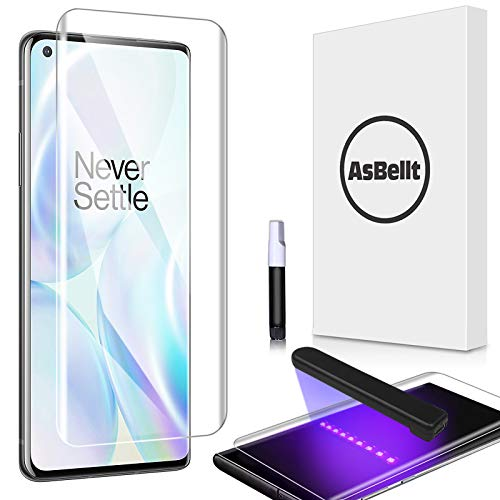 AsBellt Screen Protector for OnePlus 8 Pro,Tempered Glass [Fingerprint Sensor Compatible][Full Adhesive][3D Glass][Case Friendly] for OnePlus 8 Pro