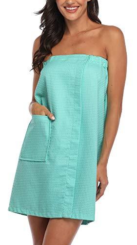 FADSHOW Women's Waffle Spa Bath Wrap Towel Adjustable Closure Ultra Absorbent Cover Up,Green,Small/Medium